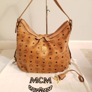 Authentic MCM large congnac hobo shoulder bag